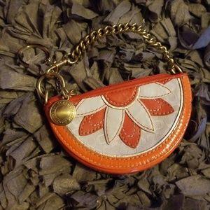 Orange Coach Coin wristlet